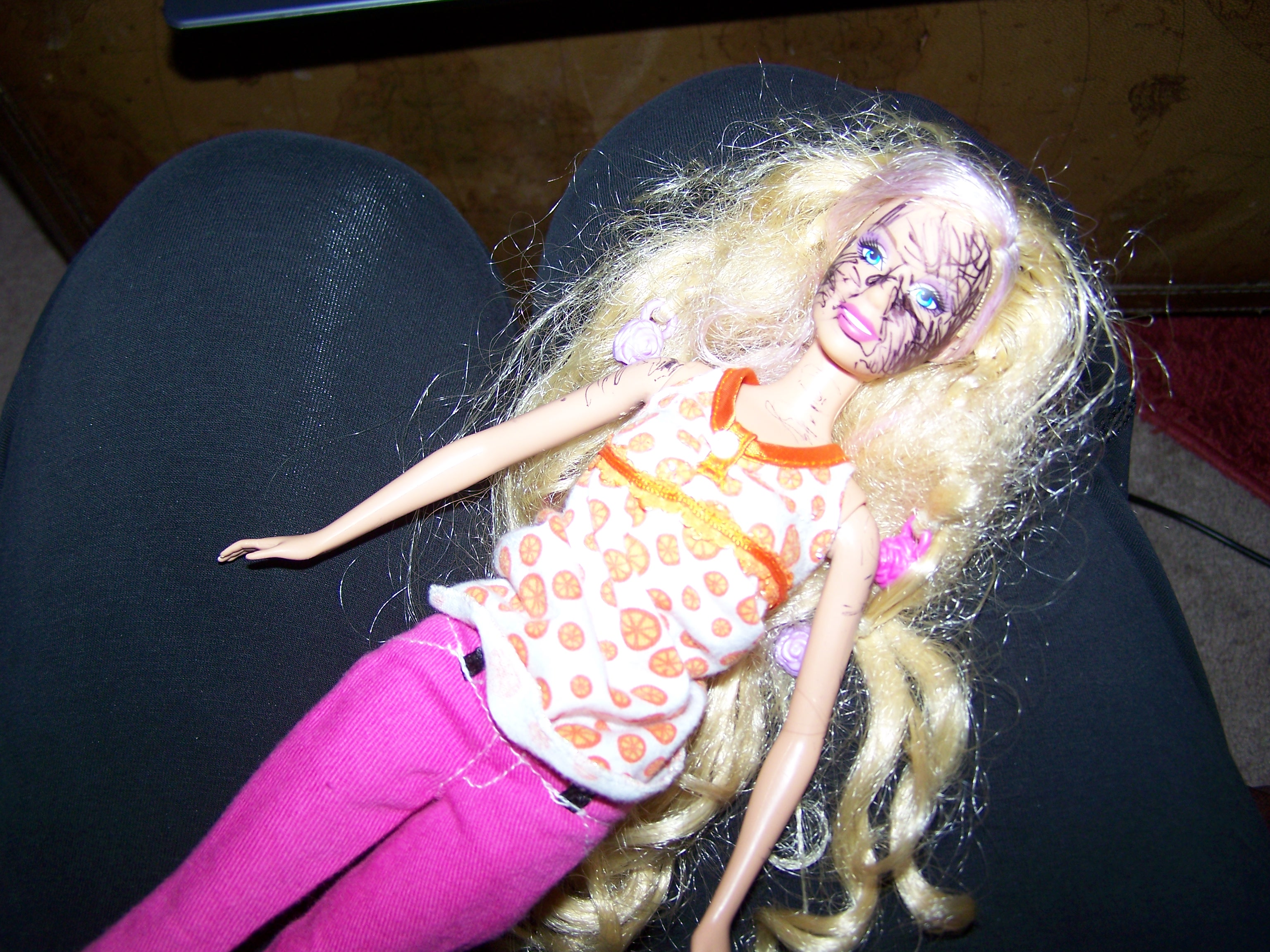 Remove Pen Marks on Barbies Face