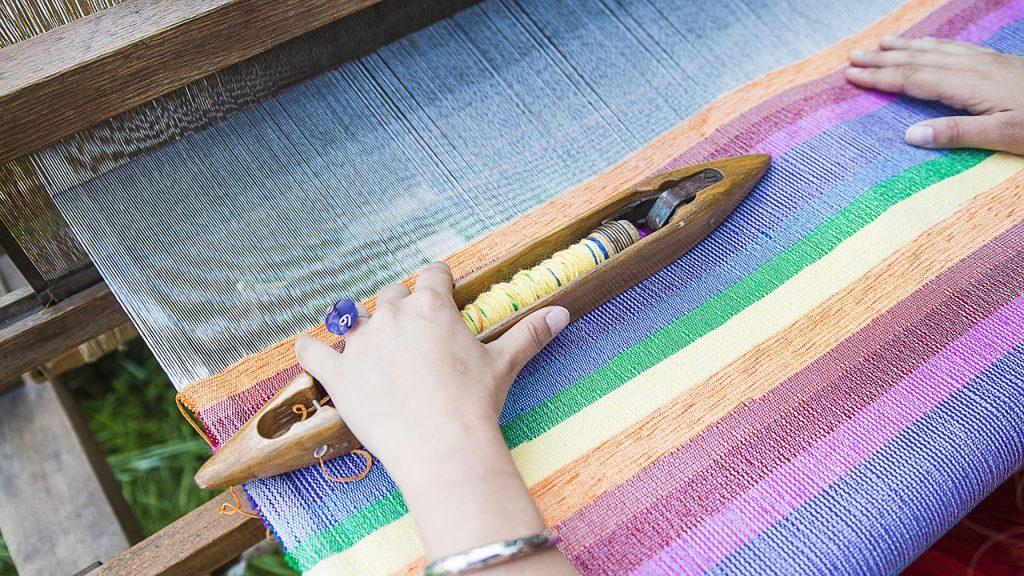 weaving a rug